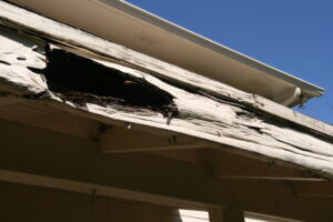 hole in roof soffit area